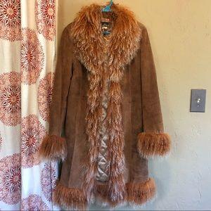 Western style leather sheepskin jacket